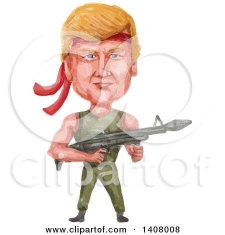 Clipart of a Watercolor Caricature of Donald Trump As Rambo, Holding a Machine Gun - Royalty Free Vector Illustration by patrimonio