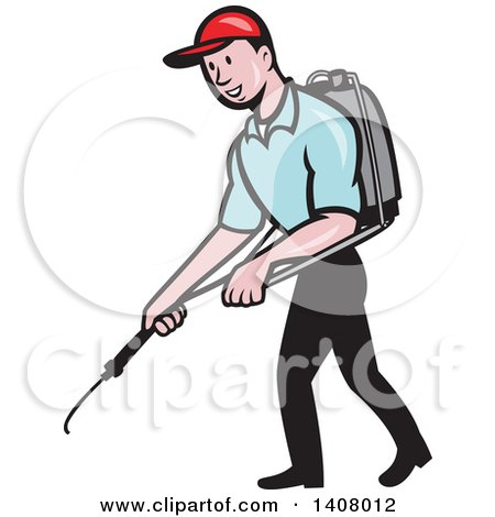 Clipart of a Retro Cartoon White Male Pest Control Exterminator Spraying - Royalty Free Vector Illustration by patrimonio