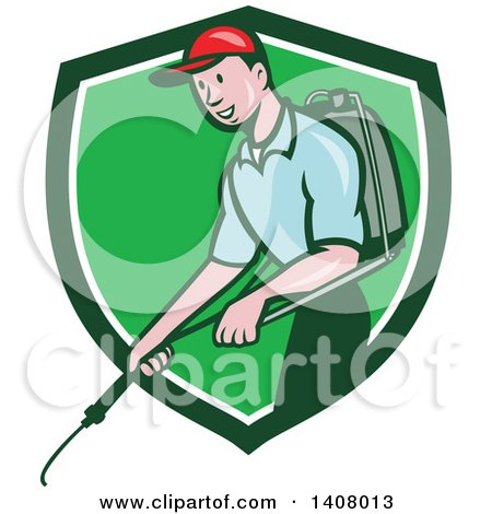 Clipart of a Retro Cartoon White Male Pest Control Exterminator Spraying in a Green and White Shield - Royalty Free Vector Illustration by patrimonio