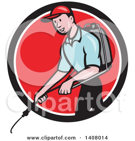 Clipart of a Retro Cartoon White Male Pest Control Exterminator Spraying in a Black White and Red Circle - Royalty Free Vector Illustration by patrimonio