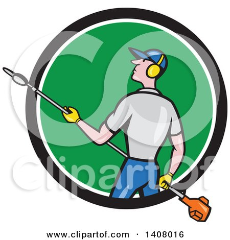 Retro Cartoon White Male Gardener Holding a Hedge Trimmer, Emerging from a Black White and Green Circle Posters, Art Prints