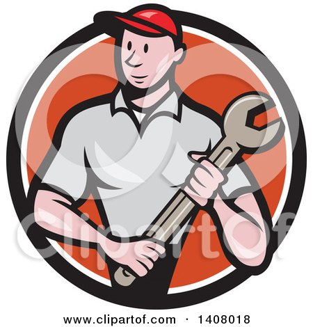 Clipart of a Retro Cartoon White Handy Man or Mechanic Standing and Holding a Spanner Wrench in a Black White and Orange Circle - Royalty Free Vector Illustration by patrimonio