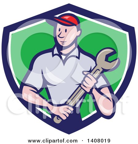 Clipart of a Retro Cartoon White Handy Man or Mechanic Standing and Holding a Spanner Wrench in a Blue White and Green Shield - Royalty Free Vector Illustration by patrimonio