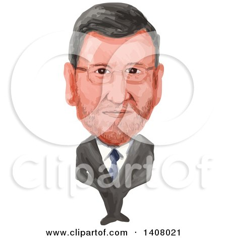 Clipart of a Watercolor Caricature of Acting Prime Minister of Spain, Mariano Rajoy Brey - Royalty Free Vector Illustration by patrimonio