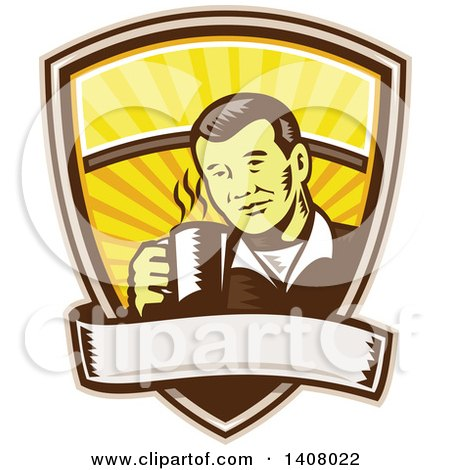 Clipart of a Retro Woodcut Asian Man Holding a Hot Cup of Coffee, Emerging from a Shield with a Banner - Royalty Free Vector Illustration by patrimonio