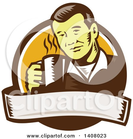 Clipart of a Retro Woodcut Asian Man Holding a Hot Cup of Coffee, Emerging from a Brown White and Orange Circle with a Banner - Royalty Free Vector Illustration by patrimonio