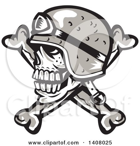 Clipart of a Retro Skull and Crossbones with a Biker Helmet - Royalty Free Vector Illustration by patrimonio