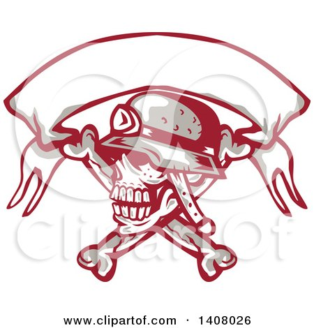 Clipart of a Retro Skull and Crossbones with a Biker Helmet and Blank Banner - Royalty Free Vector Illustration by patrimonio
