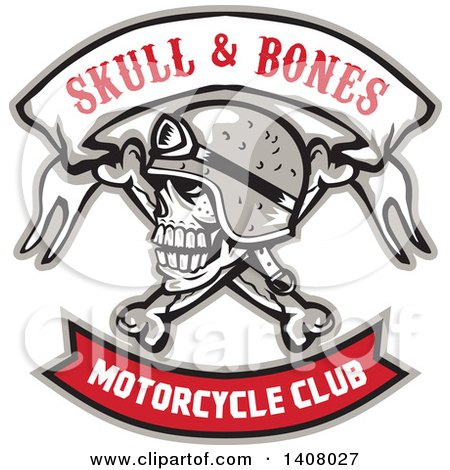 Clipart of a Retro Skull and Crossbones with a Biker Helmet and Text Banners - Royalty Free Vector Illustration by patrimonio