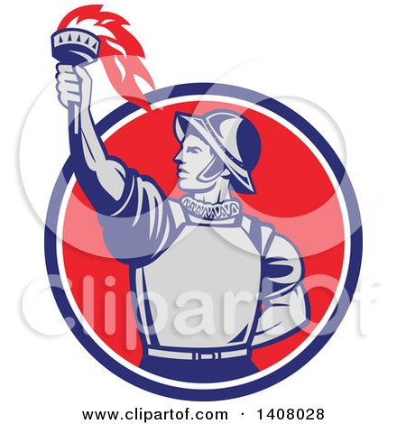 Clipart of a Retro Spanish Conquistador Holding up a Torch, Emerging from a Blue White and Red Circle - Royalty Free Vector Illustration by patrimonio