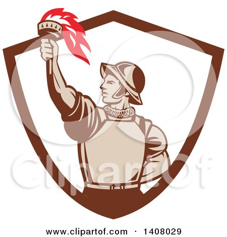 Clipart of a Retro Spanish Conquistador Holding up a Torch, Emerging from a Brown and White Shield - Royalty Free Vector Illustration by patrimonio