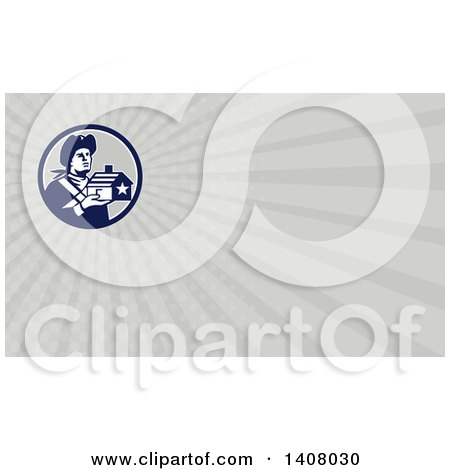 Clipart of a Retro Male American Patriot Soldier Holding a Home and Gray Rays Background or Business Card Design - Royalty Free Illustration by patrimonio