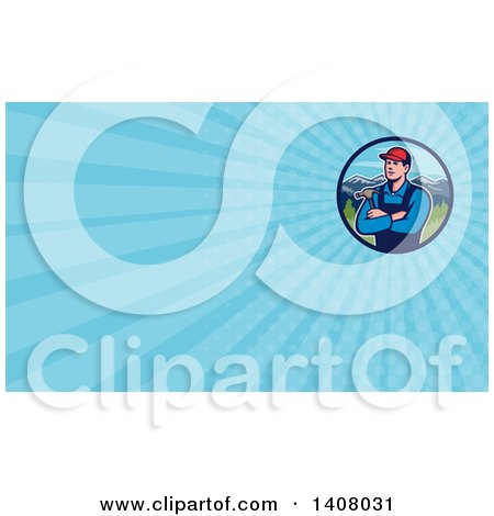Retro Male Caucasian Carpenter with Folded Arms, Holding a Hammer in a Circle of Mountains and Blue Rays Background or Business Card Design Posters, Art Prints