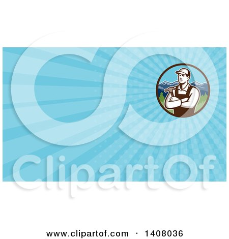 Retro Male Carpenter with Folded Arms, Holding a Hammer and Blue Rays Background or Business Card Design Posters, Art Prints