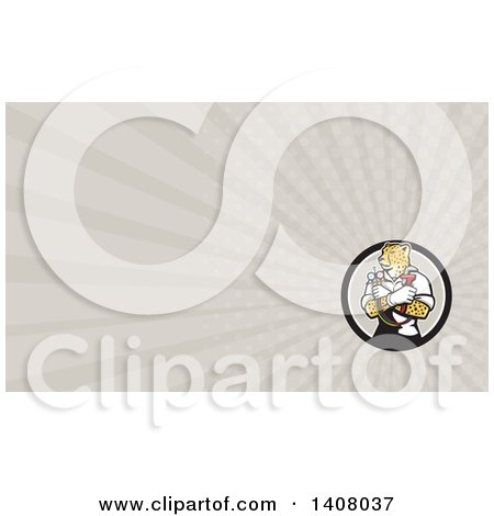 Clipart of a Cartoon Refrigeration and Air Conditioning Mechanic or Plumber Cheetah Holding a Pressure Temperature Gauge and Monkey Wrench and Rays Background or Business Card Design - Royalty Free Illustration by patrimonio