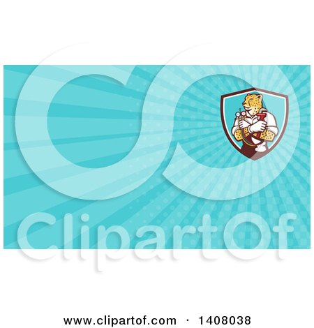 Clipart of a Cartoon Refrigeration and Air Conditioning Mechanic or Plumber Cheetah Holding a Pressure Temperature Gauge and Monkey Wrench and Blue Rays Background or Business Card Design - Royalty Free Illustration by patrimonio