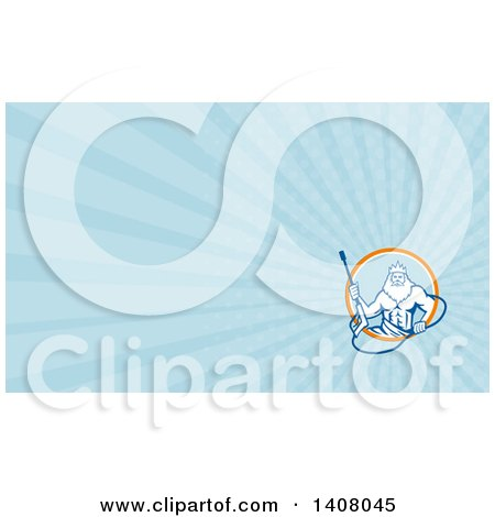 Retro Man, Neptune, Holding Pressure Washer Wand and Blue Rays Background or Business Card Design Posters, Art Prints
