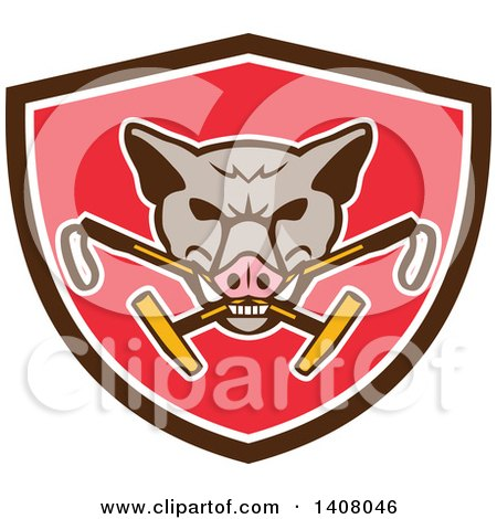 Clipart of a Retro Wild Hog Boar Head Biting Crossed Polo Mallets in a Brown White and Red Shield - Royalty Free Vector Illustration by patrimonio