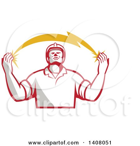 Clipart of a Retro Male Electrician Looking up and Holding a Spanning Lightning Bolt - Royalty Free Vector Illustration by patrimonio