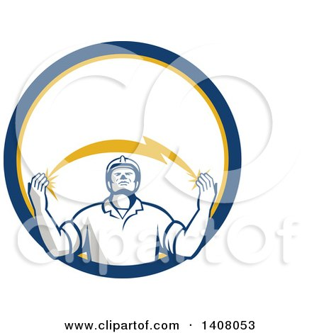 Clipart of a Retro Male Electrician Looking up and Holding a Spanning Lightning Bolt in a Blue Yellow and White Circle - Royalty Free Vector Illustration by patrimonio