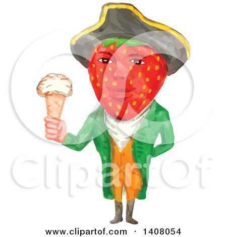Clipart of a Watercolour Caricature Styled Victorian Gentleman with a Strawberry Head, Wearing a Tricorn Hat and Holding an Ice Cream Cone - Royalty Free Vector Illustration by patrimonio