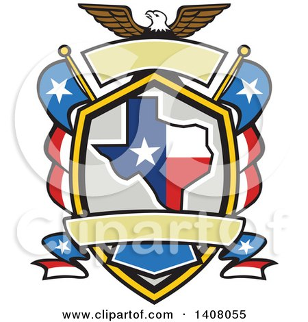 Clipart of a Retro Bald Eagle Crest with the State of Texas and American Themed Flags - Royalty Free Vector Illustration by patrimonio
