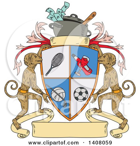Clipart of a Sketched Sports Shield Crest with Monkeys and Crock Pot of Money - Royalty Free Vector Illustration by patrimonio