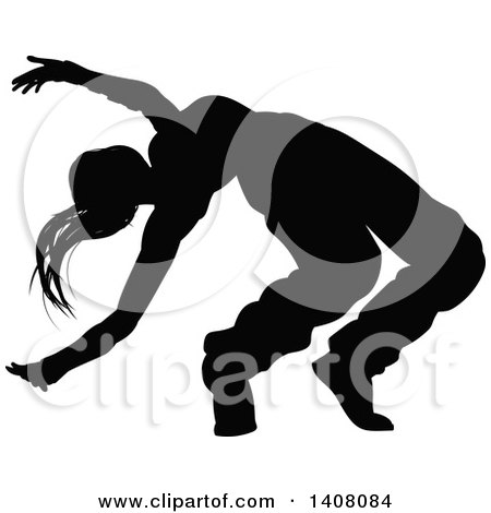 Clipart of a Black Silhouetted Female Hip Hop Dancer - Royalty Free Vector Illustration by AtStockIllustration