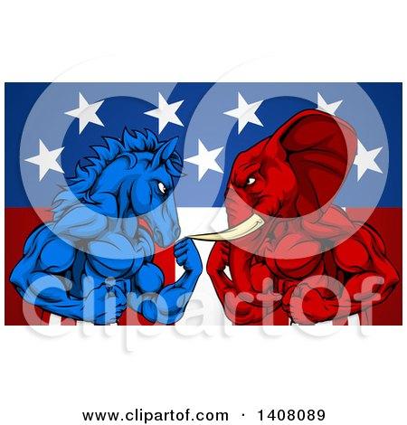 Politics American Election Concept Donkey Vs Elephant by AtStockIllustration