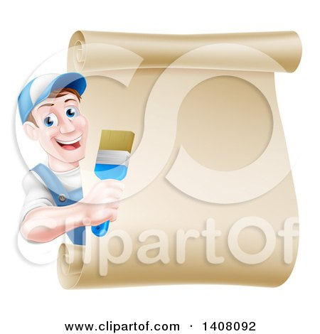 Happy Middle Aged Brunette White Male House Painter Holding a Brush Around a Scroll Sign Posters, Art Prints