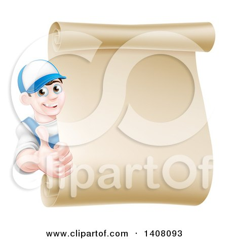 Happy Young Caucasian Mechanic Man in Blue, Giving a Thumb up Around a Blank Scroll Sign Posters, Art Prints