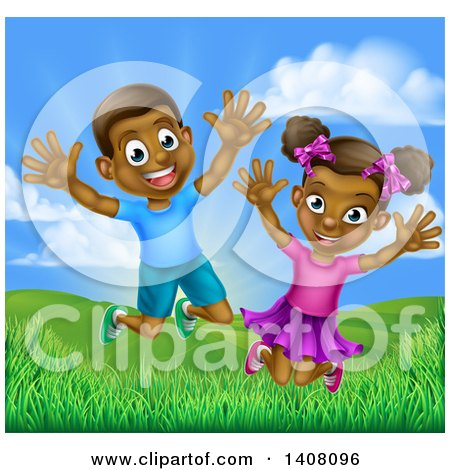 Clipart of a Happy and Excited Black Boy and Girl Jumping Outdoors - Royalty Free Vector Illustration by AtStockIllustration