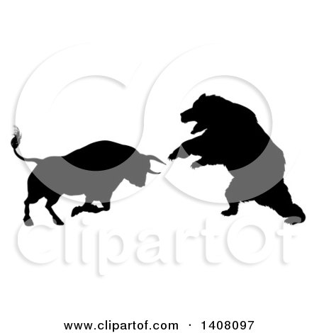 Clipart of a Black Silhouetted Stock Market Bull Fighting a Bear - Royalty Free Vector Illustration by AtStockIllustration
