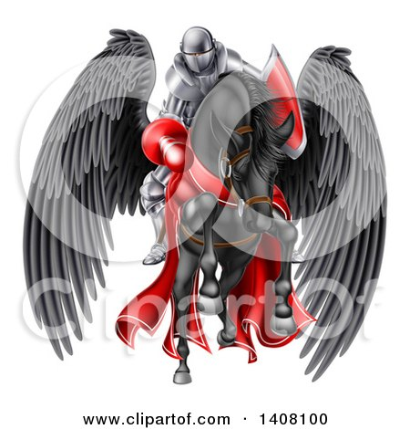 Clipart of a 3d Fully Armored Medieval Jousting Knight Holding a Lance on a Black Pegasus Horse As They Charge Forward - Royalty Free Vector Illustration by AtStockIllustration