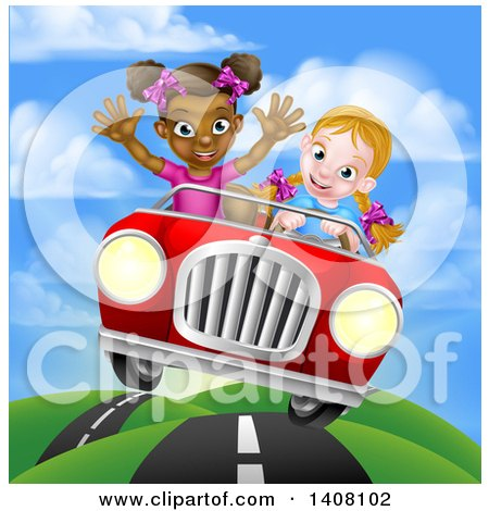 Clipart of a Happy Blond White Girl Driving a Red Convertible Car with a Black Girl in the Passenger Seat on a Hilly Road - Royalty Free Vector Illustration by AtStockIllustration