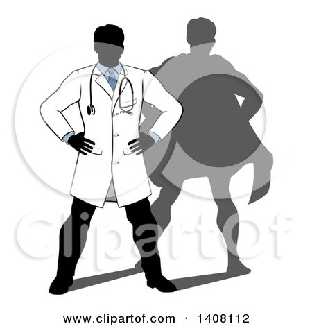 Clipart of a Silhouetted Male Doctor Standing with His Hands on His Hips, a Super Hero Shadow Behind Him - Royalty Free Vector Illustration by AtStockIllustration