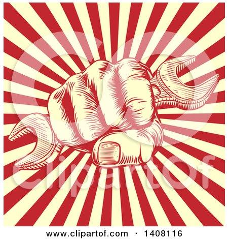 Propaganda Poster Spanner Woodcut Fist by AtStockIllustration
