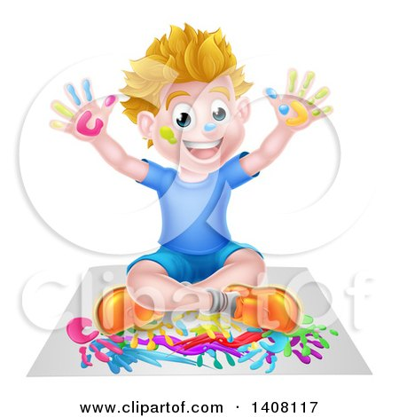 Cartoon Happy White Boy Sitting and Hand Painting Artwork Posters, Art Prints