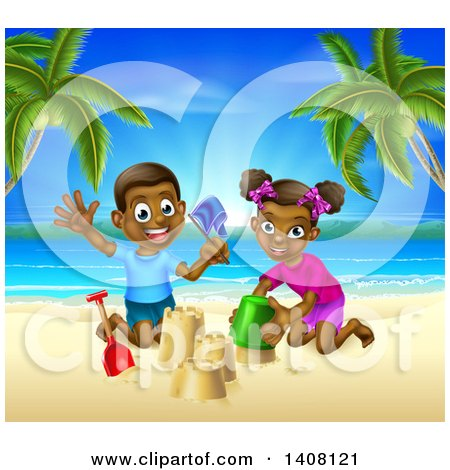 Clipart of a Happy Black Boy and Girl Playing and Building a Sand Castle on a Tropical Beach - Royalty Free Vector Illustration by AtStockIllustration