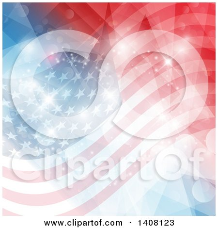 Clipart of a Patriotic American Flag Background with Flares - Royalty Free Vector Illustration by KJ Pargeter