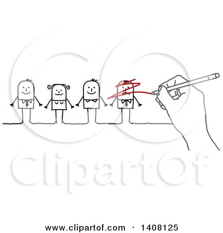 Clipart of a Hand Scribbling out a Stick Business Man in a Line up - Royalty Free Vector Illustration by NL shop