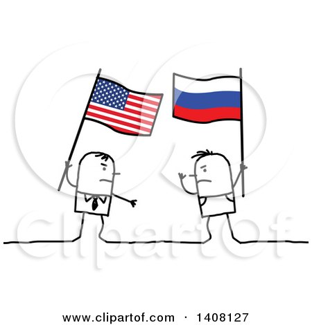 Clipart of Stick Men Holding American and Russian Flags and Fighting - Royalty Free Vector Illustration by NL shop