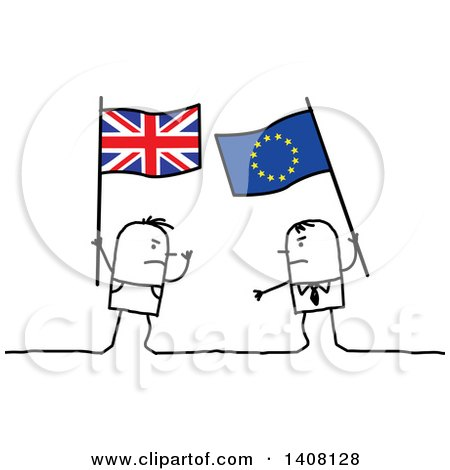 Clipart of Stick Men Holding British and European Flags and Fighting, Brexit - Royalty Free Vector Illustration by NL shop