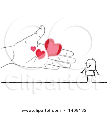 Clipart of a Hand Offering Love Hearts to a Stick Business Man - Royalty Free Vector Illustration by NL shop