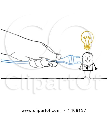 Clipart of a Hand Plugging in a Cord to a Creative Stick Business Man - Royalty Free Vector Illustration by NL shop