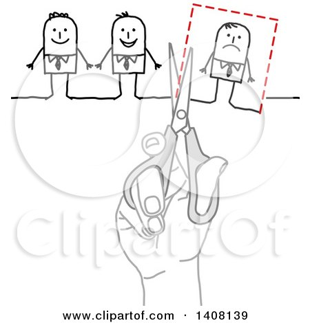 Clipart of a Hand Using Scissors to Cut a Stick Business Man out of a Group - Royalty Free Vector Illustration by NL shop