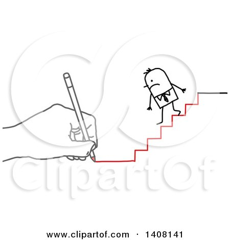 Hand Drawing a Stick Business Man Going down Stairs Posters, Art Prints