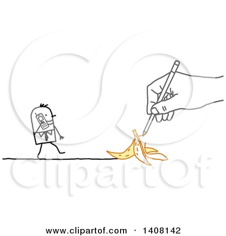 Hand Drawing a Stick Business Man Approaching a Banana Peel As He Talks on a Cell Phone Posters, Art Prints