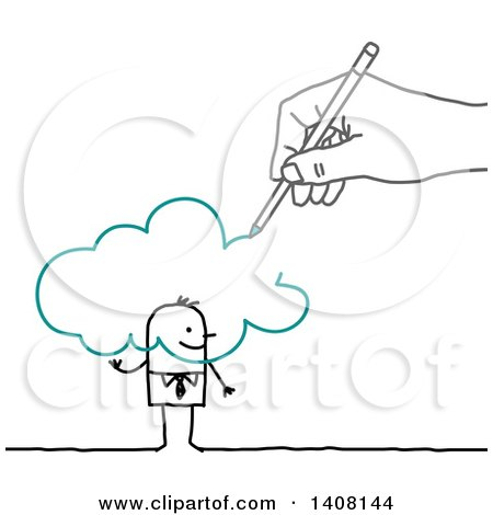 Clipart of a Hand Drawing a Stick Business Man and Cloud - Royalty Free Vector Illustration by NL shop