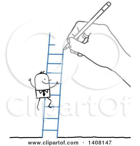 Hand Drawing a Stick Business Man Climbing a Ladder Posters, Art Prints